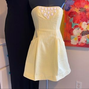 Lilly Pulitzer Yellow Beaded Strapless Dress